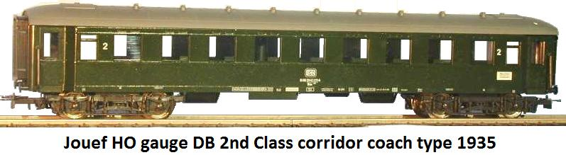 Jouef DB 2nd class corridor coach type 1935 in HO gauge