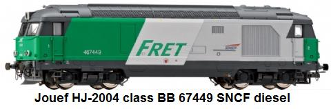 Jouef modern era HJ-2004 diesel locomotive Class BB 67449 in SNCF livery