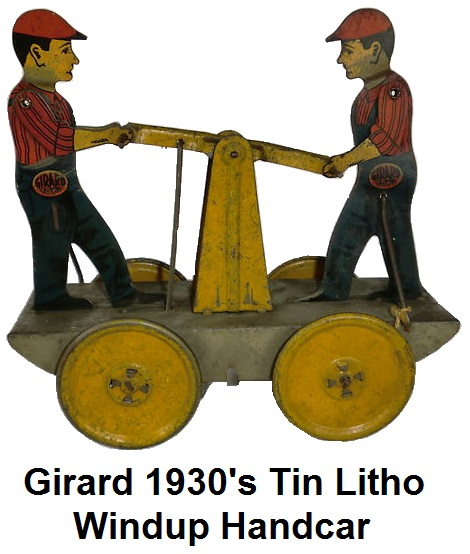 Girard 1930's Windup Tin Lithographed Train Handcar