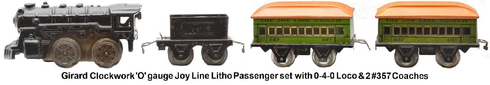 Joy Line 'O' gauge tinplate lithographed pasenger set with 0-4-0 cast loco, tender and two #357 Pullman coaches