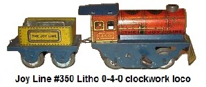 Joy Line #350 'O' gauge tin plate lithographed 0-4-0 engine and 4 wheel tender