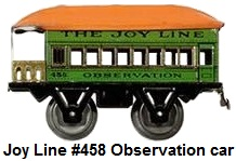 Joy Line #458 'O' gauge tin plate lithographed 4 wheel observation car