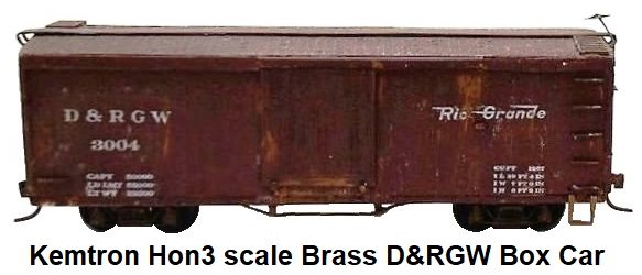 Kemtron Hon3 Brass D&RGW Box Car