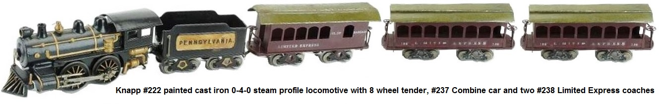 Knapp #222 painted cast iron 0-4-0 steam profile electric loco with 8 wheel Pennsylvania tender, #237 combine 