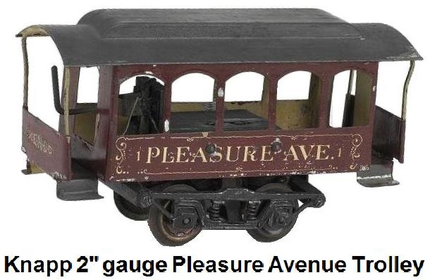 Knapp Pleasure Avenue Trolley painted tin electric trolley with wood and cast metal frame