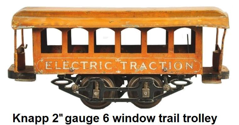 Knapp six window Trail Trolley - 2-inch gauge. Tinplate sides with cast iron frame and wood floors