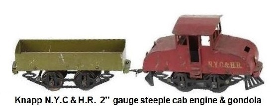 Knapp N.Y.C & H.R. 2 inch gauge freight set painted tin electric outline steeple cab engine and painted tin gondola