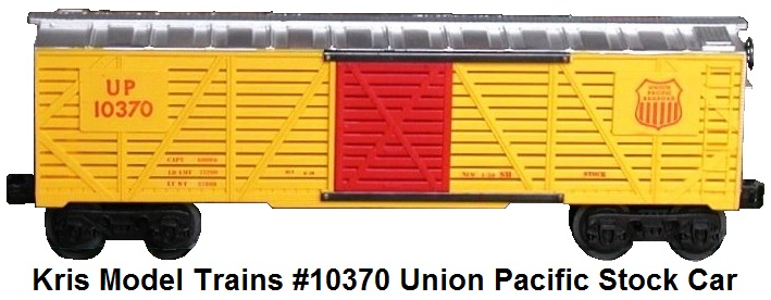 Kris Model Trains #10370 yellow Union Pacific stock car