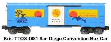 Kris Model Trains Toy Train Operating Society 1981 San Diego National Convention box car