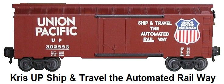 Kris Model Trains Union Pacific #392885 Ship & Travel the Automated Rail Way box car