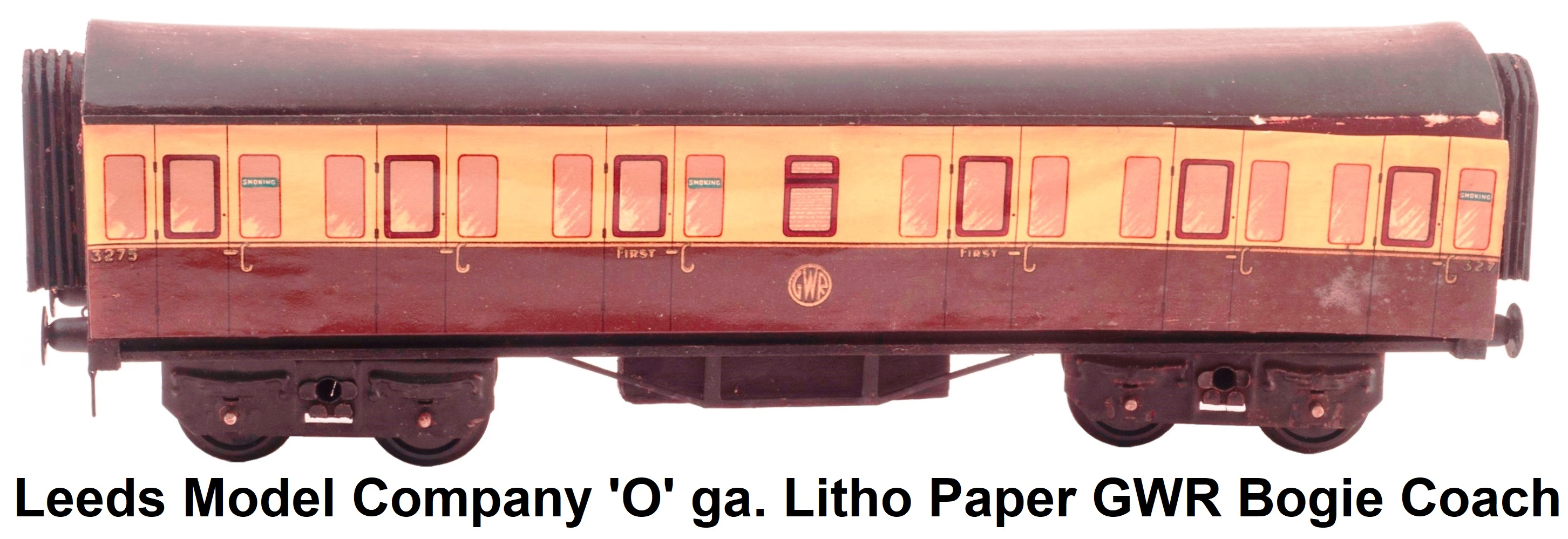 Leeds Model Company 'O' gauge Early Wooden Body with litho paper sides GWR bogie Coach