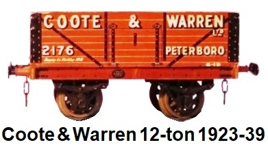Leeds Model Company 'O' gauge Coote & Warrens Ltd. 12-ton Private Owner wagon #2176 circa 1923-39