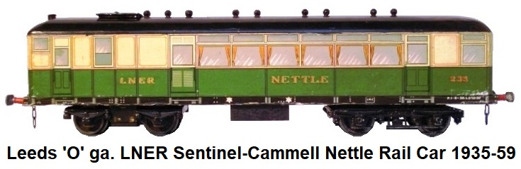 Leeds Model Company 'O' gauge LNER Sentinel-Cammell Rail Car 'Nettle' running #233 made 1935-1959