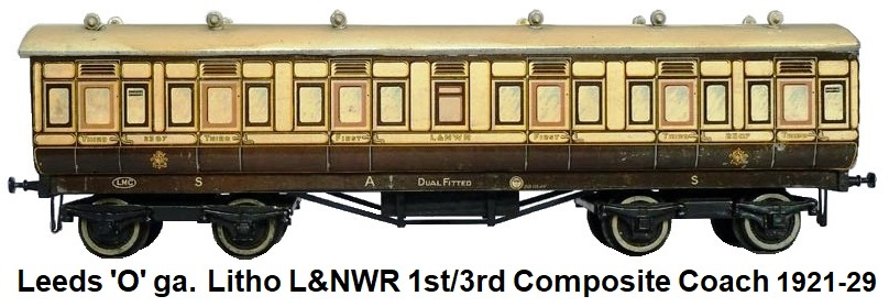 Leeds Model Company 'O' gauge litho LNWR 1st/3rd Composite Coach made 1921-29