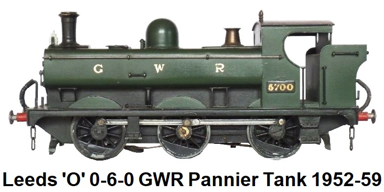 Leeds Model Company 'O' gauge 0-6-0  Great Western Railway Class 5700 Pannier Tank, green, 12 volts D.C., 1952-59
