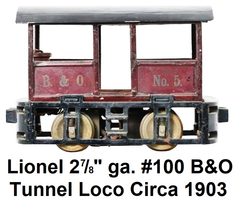 Lionel 2 7/8 inch gauge #100 open sided electric locomotive circa 1903, patterned after the 