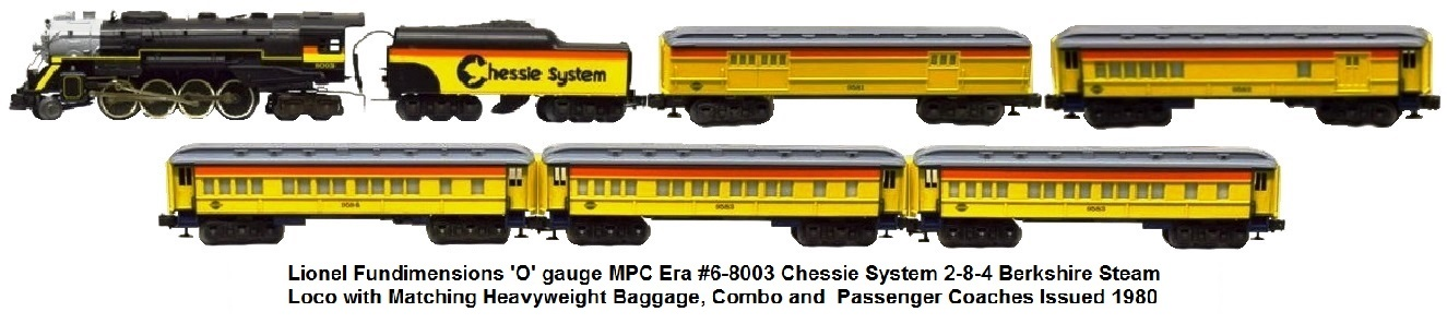 Lionel MPC 'O' gauge #8003 Chessie Steam Special 2-8-4 Berkshire Loco and Matching Heavyweight Baggage, Combo and Passenger Coaches circa 1980
