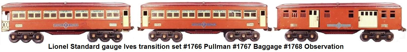 Lionel Standard gauge Ives very rare transition set with 6 wheel trucks on the #1766 Pullman, #1767 Baggage car, and #1768 Observation car
