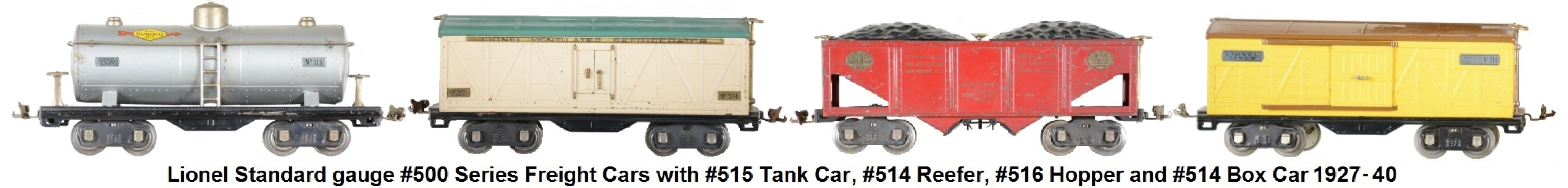 Lionel Standard gauge #515 tank car from 1927 and Lionel Standard gauge #214 box car from 1926
