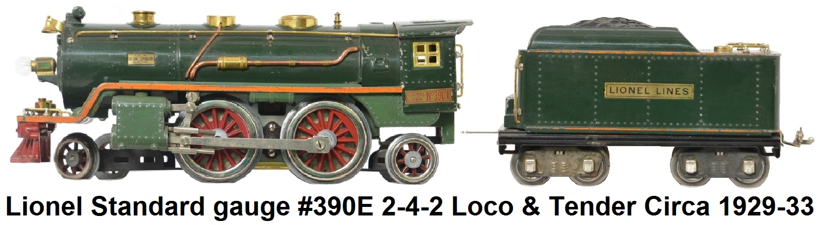 Lionel Standard gauge #390E 2-4-2 Stephen Girard set Steam Loco circa 1929-33