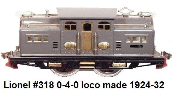 Lionel Standard gauge #318 dark gray 0-4-0 NYC Electric outline loco made 1924-32