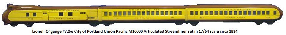 Lionel 'O' gauge #725e City of Portland Union Pacific M10000 Articulated Streamliner circa 1934