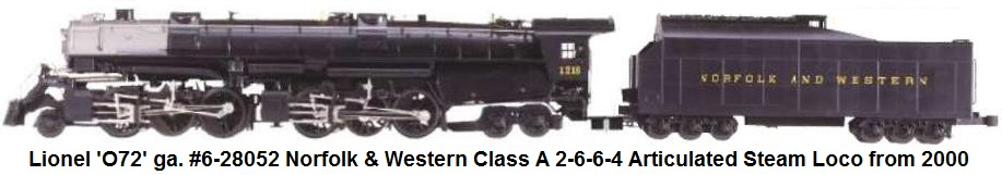 Lionel Norfolk & Western Class A 2-6-6-4 Articulated Loco & tender