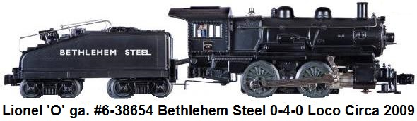 Lionel 'O' gauge #6-38654 Bethlehem Steel 0-4-0 Locomotive and Tender Circa 2009
