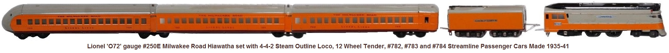 Lionel 'O72' gauge #250 Milwaukee Road Hiawatha Streamliner Passenger Set circa 1935-41