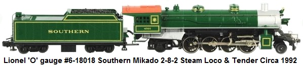 Lionel #6-18018 'O' gauge Modern era Southern Mikado 2-8-2 Steam Locomotive & Tender circa 1992