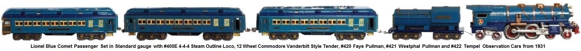 Lionel Standard gauge Blue Comet Set from 1931