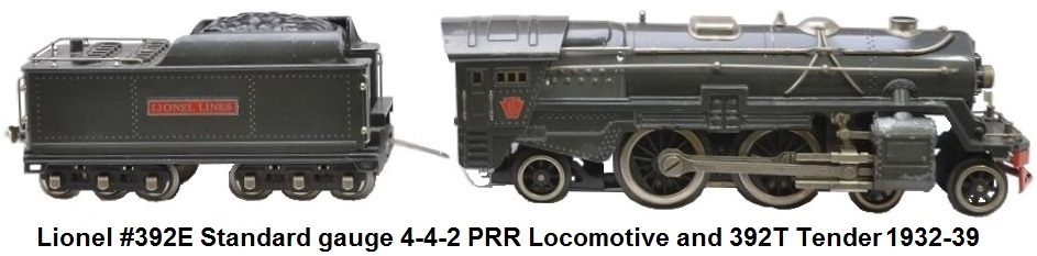 Lionel #392E standard gauge  gunmetal loco with nickel trim and 392T tender with nickel trim and journals