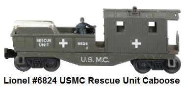 Lionel 'O' gauge #6824 USMC Rescue Caboose with original accessories