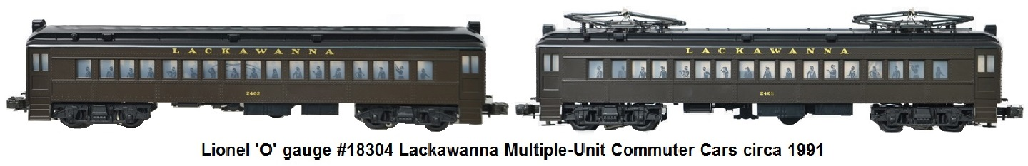 Lionel #6-18304 'O' gauge Modern era Lackawanna Multiple-Unit Commuter Cars circa 1991