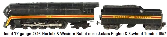 Lionel 'O' gauge #746 Norfolk & Western Bullet nose Class J Locomotive & Tender from 1957
