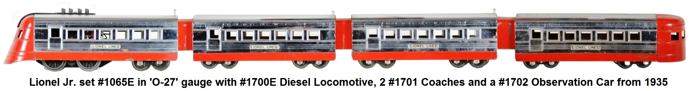 Lionel 'O-27' gauge #1065 streamliner set from 1935