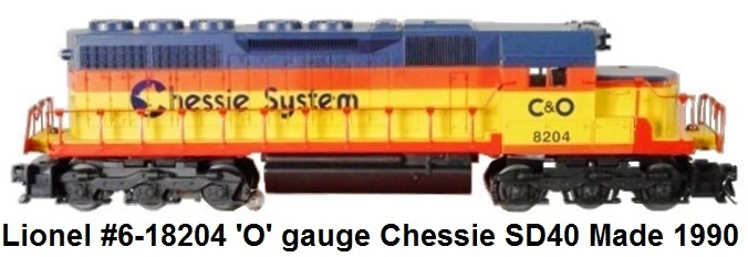 Lionel #6-18204 'O' gauge Chessie System SD40 from 1990
