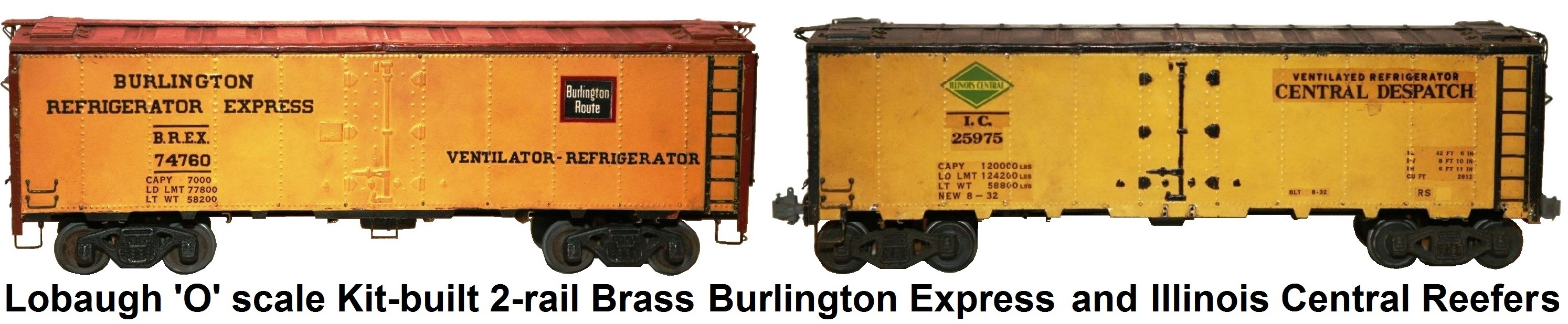 Lobaugh 'O' scale 2-rail kit built freight cars - includes #74765 Burlington Express Reefer, #62456 AT&SF Gondola, #25975 Illinois Central Reefer and skeleton Log Flat car