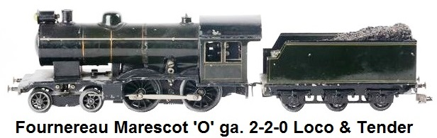 Fournereau Marescot 'O' gauge electric locomotive type 220, green bronze with net and coal tender with three axles