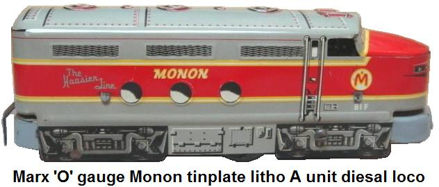 Marx tinplate lithographed Monon #81F A Unit diesal in 'O' gauge
