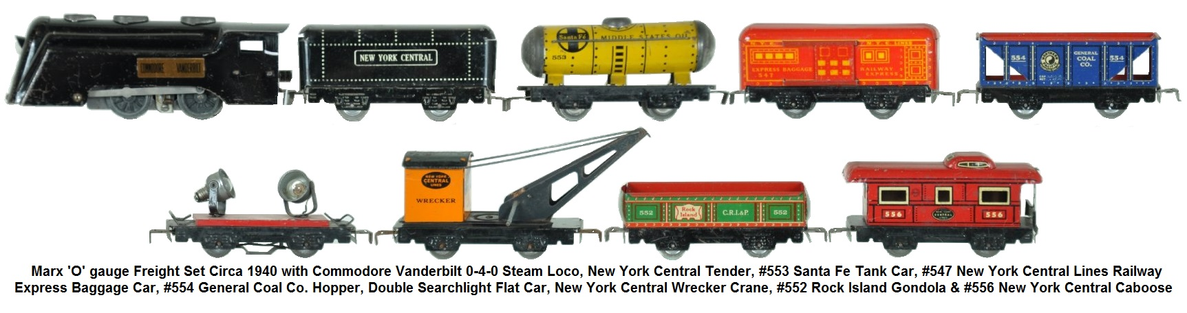 Marx 'O' gauge tinplate early steam freight set Circa 1940. Commodore Vanderbilt steam loco NYC tender; SF tank car double searchlight; hopper 547 baggage crane; gondola & caboose