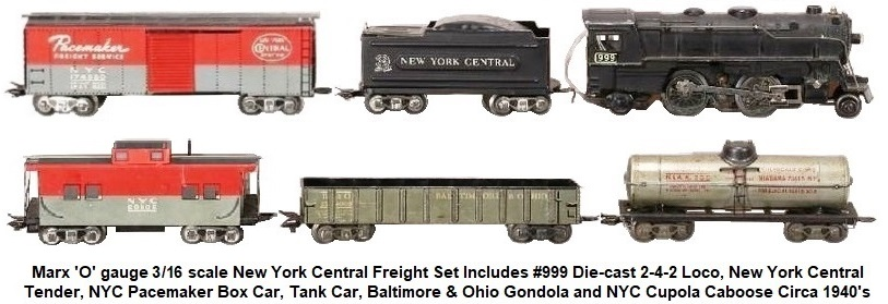 Marx 'O' gauge 3/16 scale New York Central Freight Set circa 1940's
