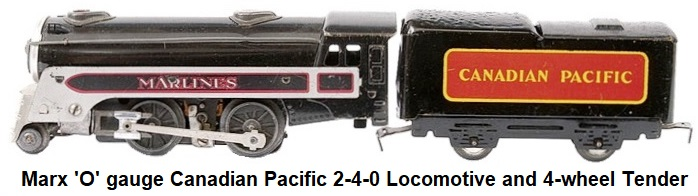 Marx 'O' gauge Canadian Pacific 2-4-0 Loco and 4-wheel Tender