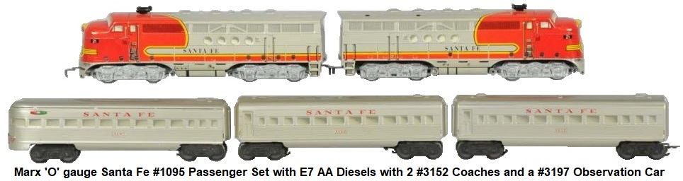 Marx 'O' gauge Santa Fe #1095 passenger set with E7 AA diesels and 3 7 inch passenger cars - 2 #3152 coaches's and a #3197 Observation car circa 1950's