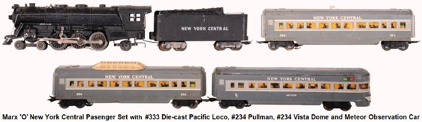 Marx 'O' gauge NYC Passenger Set with die-cast 4-6-2 Pacific Loco circa 1950's