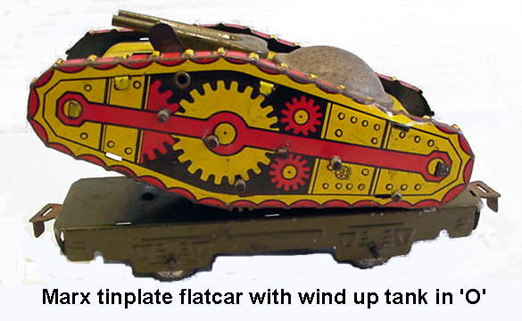 Marx 'O' gauge tinplate flat car with wind up tank