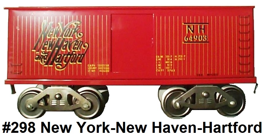 McCoy Standard Gauge #298 New York, New Haven and Hartford NH64903 Box car made 1986
