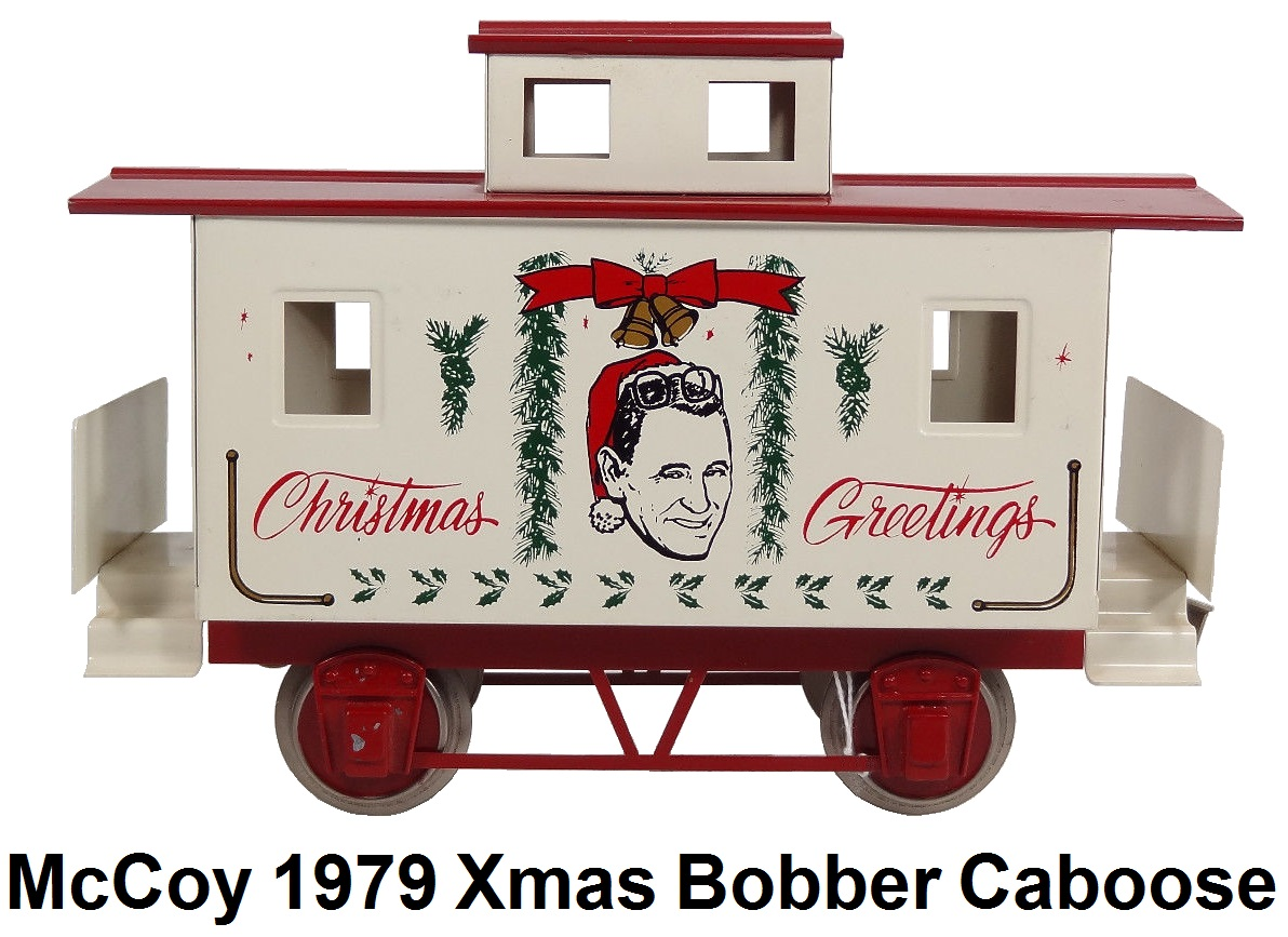 McCoy 1979 Christmas Greetings Bobber caboose with Bob McCoy framed in holly with music boxes, white with red roof