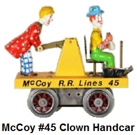 McCoy #45 Circus Clown Handcar in Standard gauge. Fantastic adaptation for Bob McCoy only 3 of these were produced