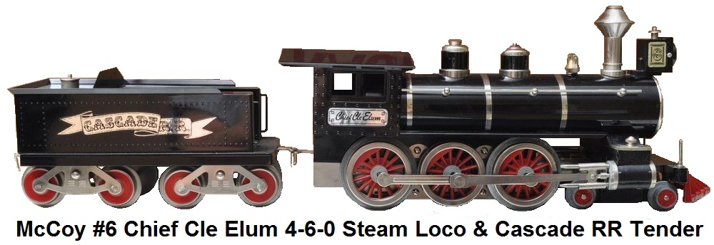 McCoy #6 Chief Cle Elum 4-6-0 Steam Locomotive and Cascade RR Tender